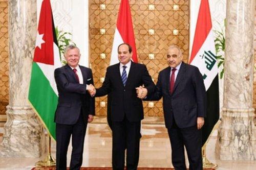 Egyptian President Abdel Fattah al-Sisi, King Abdullah II of Jordan and the Iraqi Prime Minister [Twitter]