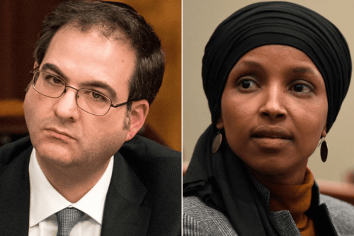 Brooklyn councilmember Kalman Yeger (L) and Congresswoman Ilhan Omar (R) [Twitter]