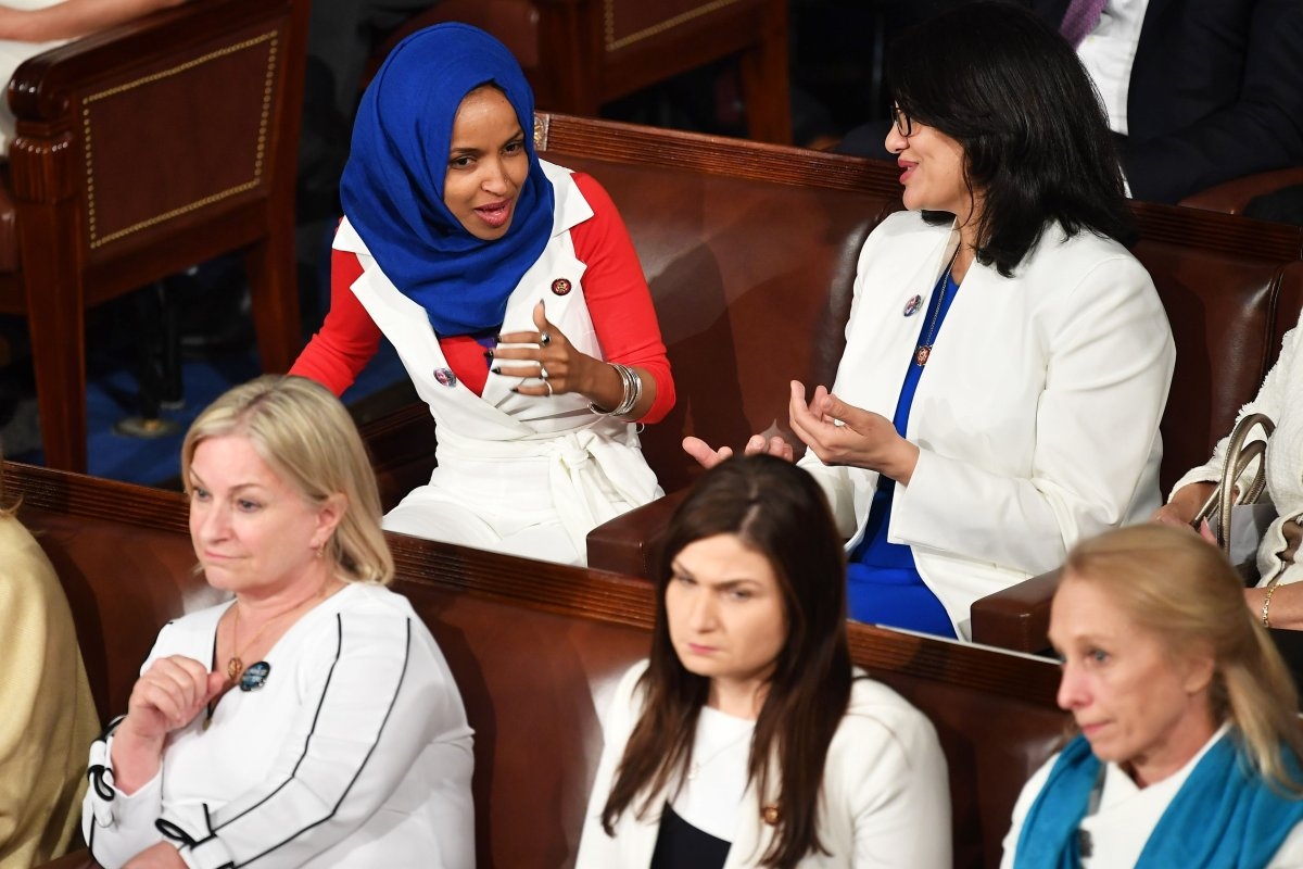 Representative Ilhan Omar (top L), D-MN, is seen during US President Donald Trump's State of the Union address in Washington, DC on 5 February 2019 [MANDEL NGAN/AFP/Getty Images]
