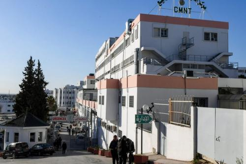 The entrance of the Wassila Bourguiba state maternity hospital in the Tunisian capital Tunis, at which 11 newborn babies died suddenly in its Rabta clinic, prompting a government probe into the incident, on 9 March 2019 [FETHI BELAID / AFP/Getty]