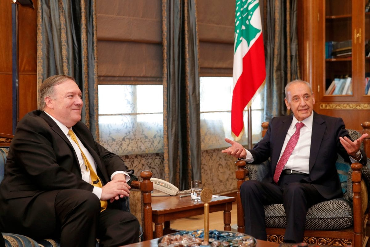 US Secretary of State Mike Pompeo (L) meets with Lebanese Parliament Speaker Nabih Berri (R) in Beirut on March 22, 2019 [JIM YOUNG/AFP/Getty Images]