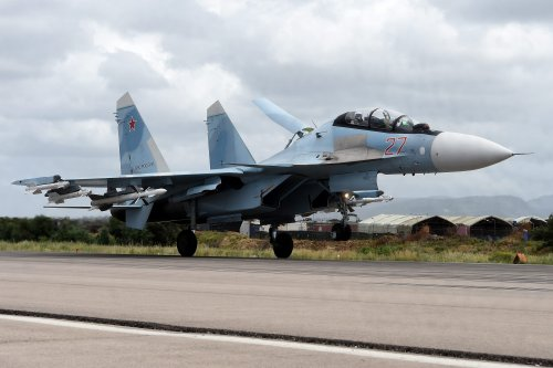 A Russian Sukhoi Su-35 on 4 May 2016 [VASILY MAXIMOV/AFP/Getty Images]