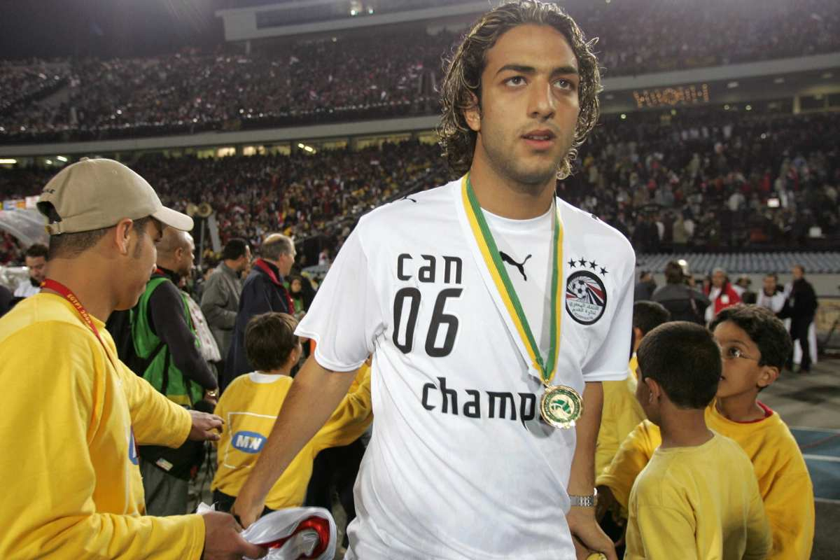 Egypt striker Ahmed 'Mido' Hossam (15), player in Tottenham (ENG) celebrates his team victory in the final game of the African Nations Cup (CAN), held in Cairo, Egypt on 10 February 2006 [AFP PHOTO/ABDELHAK SENNA / Getty]