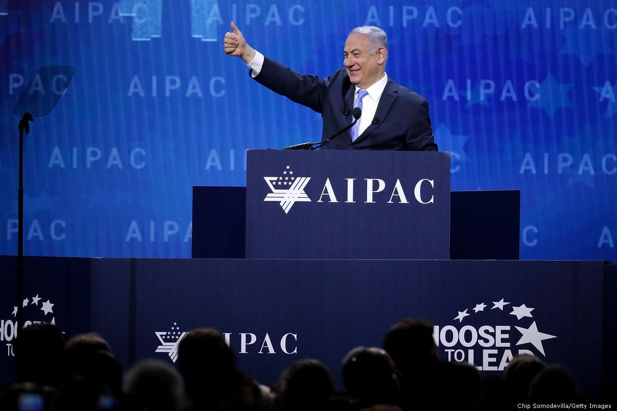 Israeli Prime Minister Benjamin Netanyahu during an AIPAC conference in Washington, US on 6 March 2018 [Chip Somodevilla/Getty Images]