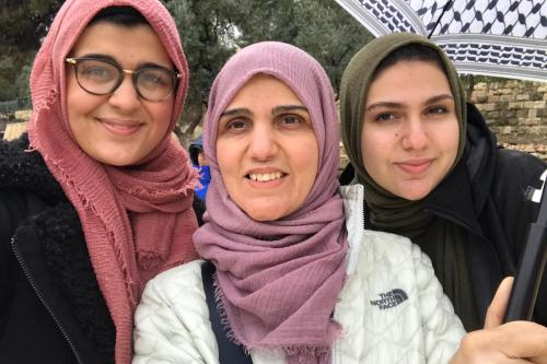 Nour and Safa Hawash with their mother Germeen AbdelKarim in Jerusalem [Nour Hawash]