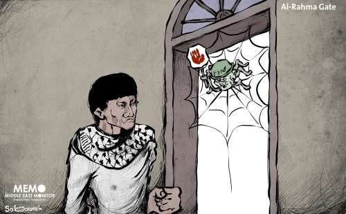 Israel continue to make it difficult for Palestinians to pray at Al-Rahma Gate, one of the doorways to Al-Aqsa Mosque - Cartoon [Mohammad Sabaaneh/Middle East Monitor]