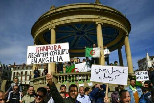 People attend a demonstration to protest against candidacy of President Abdelaziz Bouteflika for a 5th term in Algiers, Algeria on 4 March 2019 [Farouk Batiche/Anadolu Agency]
