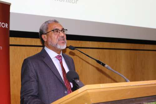 MEMO Director, Dr. Daud Abdullah speaks at MEMO's 'Present Absentees' conference in London on April 27, 2019 [Middle East Monitor]
