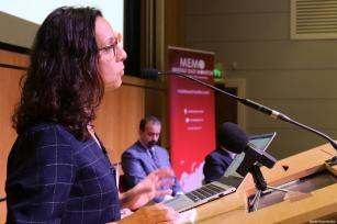 Suhad Bishara of Adalah, The Legal Center for Arab Minority Rights in Israel, seen at MEMO's 'Present Absentees' conference in London on April 27, 2019 [Middle East Monitor]