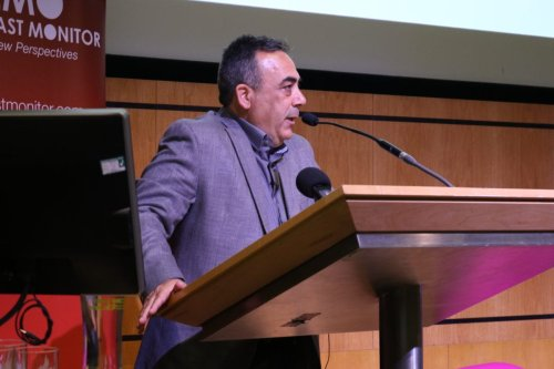 Professor As'ad Ghanem addresses Present Absentees conference on 27 April 2019 in London [Middle East Monitor]