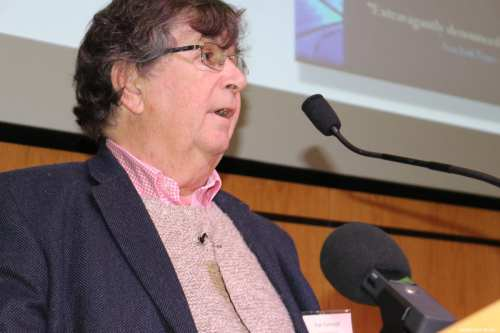 Karl Sabbagh, a British-Palestinian writer, documentary maker, and publisher speaks at MEMO's 'Present Absentees' conference in London on April 27, 2019 [Middle East Monitor]