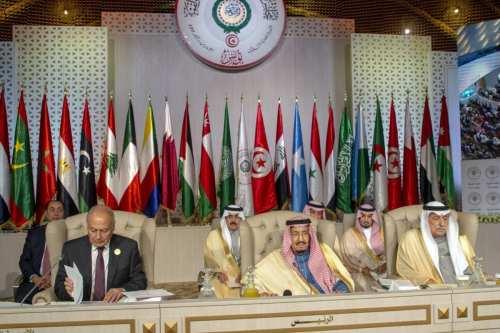 Arab League Secretary-General Ahmed Aboul Gheit (L), Saudi Arabia's King Salman bin Abdulaziz (C) and Saudi Foreign Minister Ibrahim Al-Assaf (R) attend the opening session of the 30th Arab League Summit in Tunis, Tunisia on 31 March 2019. [Yassine Gaidi - Anadolu Agency]