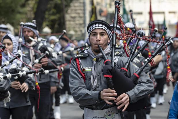 Marching band performs during an event to mark the Lailat al-Isra and Miraj towards Jerusalem's iconic Al-Aqsa Mosque on April 03, 2019. ( Faiz Abu Rmeleh - Anadolu Agency )
