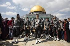 A band performs during an event to mark the Lailat al-Isra and Miraj at Jerusalem's iconic Al-Aqsa Mosque on April 03, 2019. ( Faiz Abu Rmeleh - Anadolu Agency )