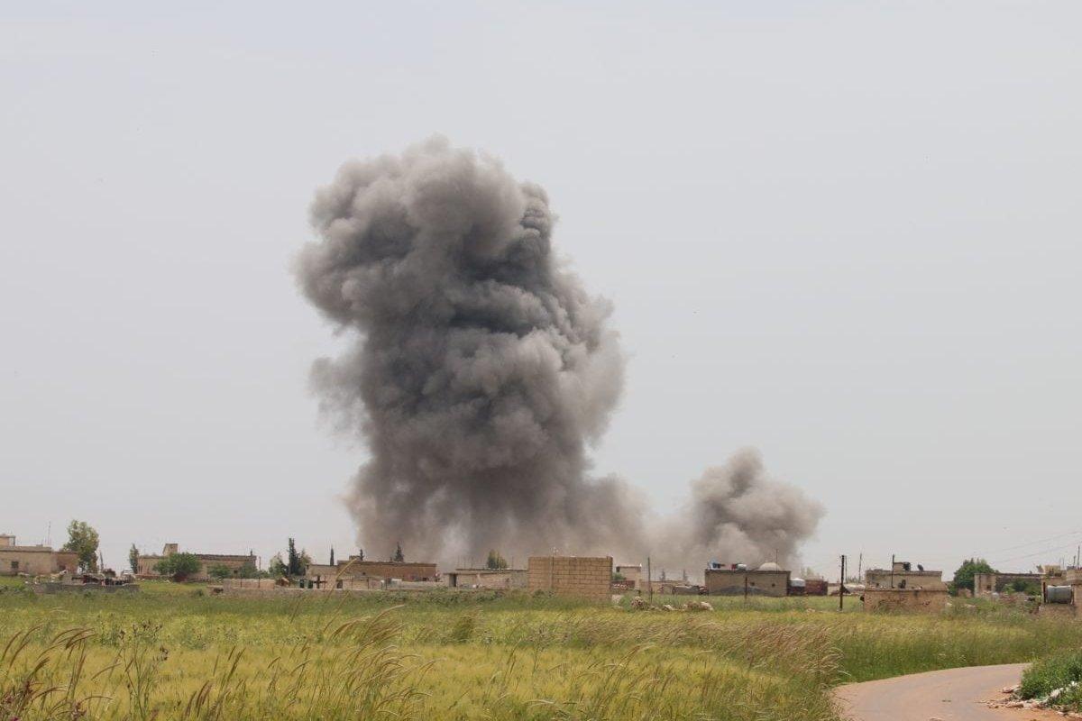 Smoke rises after Assad regime attacks on residential areas in Syria's de-escalation zones, on 30 April, 2019 in Idlib, Syria [Ekrem Masri/Anadolu Agency]