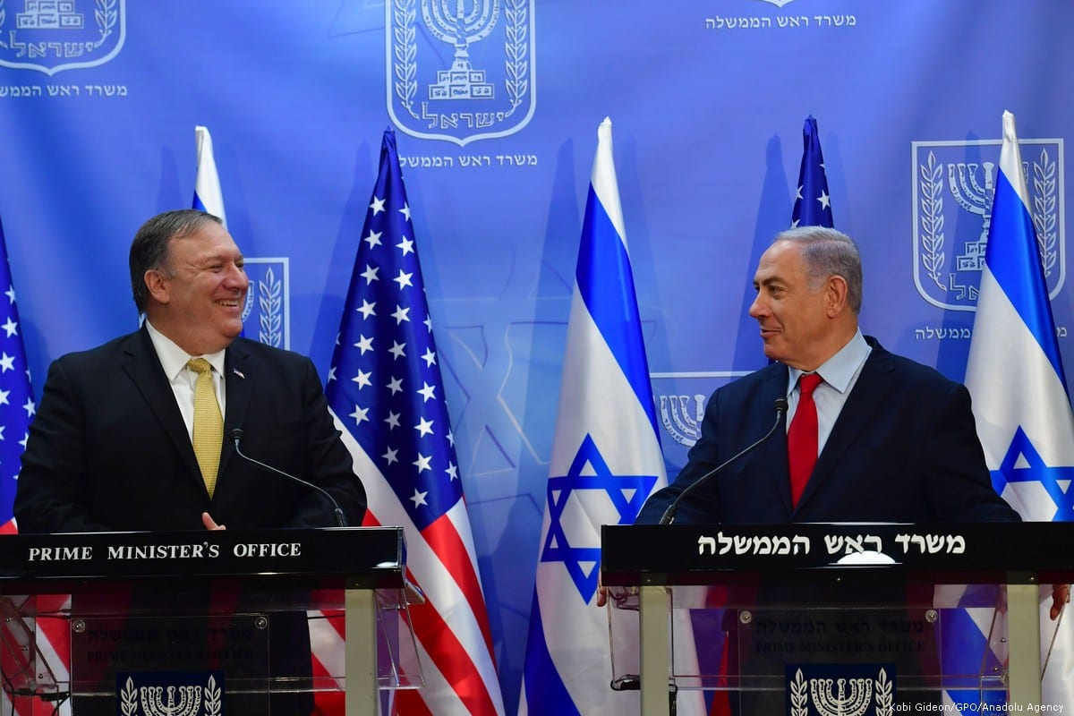 US Secretary of State Mike Pompeo meets Israeli Prime Minister Benjamin Netanyahu at Prime Ministry Office in Jerusalem on 20 March 2019 [Kobi Gideon/Anadolu Agency]