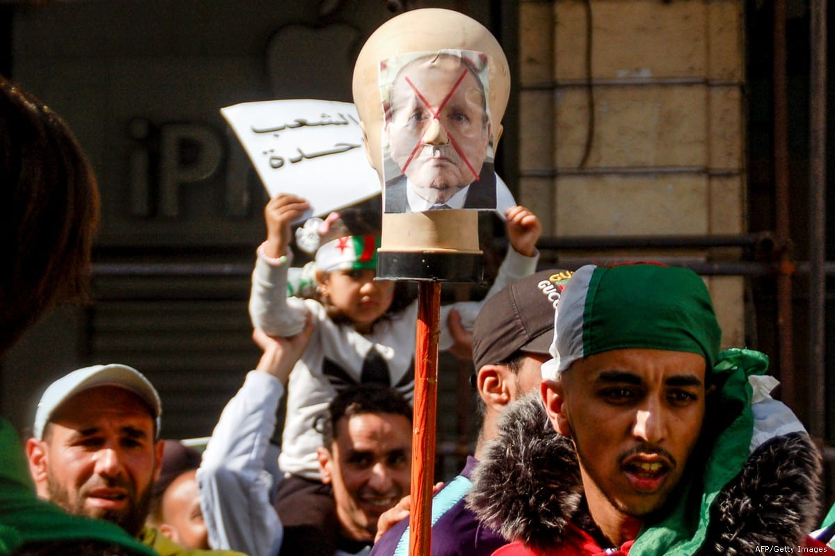 Algerians protest during a demonstration against President Abdelaziz Bouteflika in Oran, Algeria on 29 March 2019 [AFP/Getty Images]