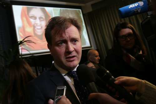 Richard Ratcliffe, husband of jailed British-Iranian Nazanin Zaghari-Ratcliffe speaks to journalists after giving a press conference in London to mark the start of Nazanin Zaghari-Ratcliffe's hunger strike in Tehran's Evin prison on 14 January 2019. [DANIEL LEAL-OLIVAS/AFP/Getty Images]