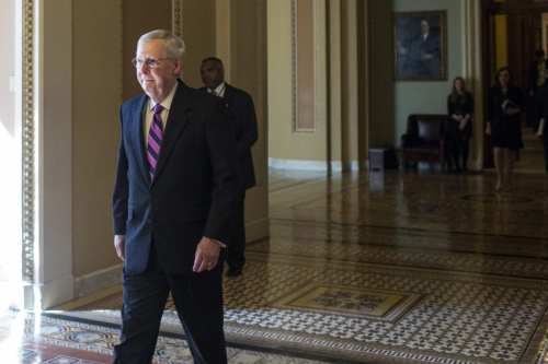 Senate Majority Leader Mitch McConnell (R-KY) leaves the Senate Floor following a vote on April 3, 2019 in Washington, DC. [Zach Gibson/Getty Images]