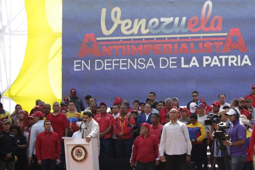 Venezuela´s President Nicolas Maduro speaks during a gathering with supporters outside Miraflores Palace on April 6, 2019 in Caracas, Venezuela [Eva Marie Uzcategui/Getty Images]