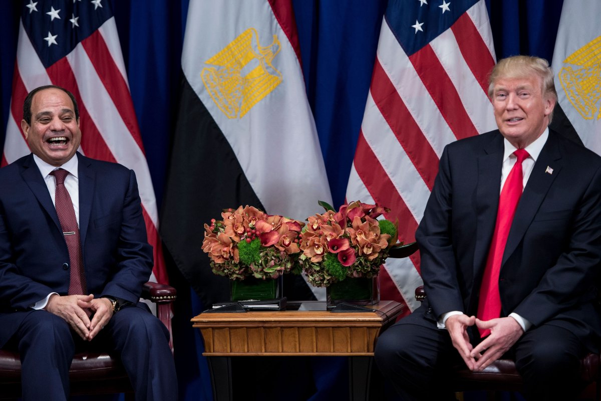 Egypt's President Abdel Fattah Al-Sisi laughs while US President Donald Trump make a statement to the press in New York, US on 20 September 2017 City [Brendan Smialowski / AFP/Getty]