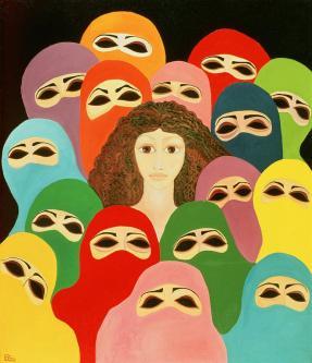 Artwork by Palestinian artist Laila Shawa