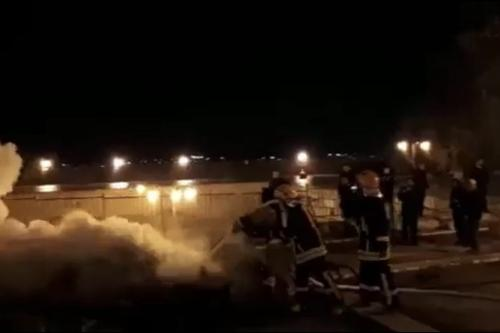 Palestinian firefighters extinguish a fire which broke out at the Al-Marwani prayer rooms in Al-Aqsa Mosque on 15 April 2019 [Video grab/File photo]