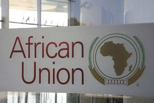 The logo of the African Union (AU) is seen at the entrance of the AU headquarters on 13 March, 2019, in Addis Ababa [Ludovic MARIN/POOL/AFP/Getty]