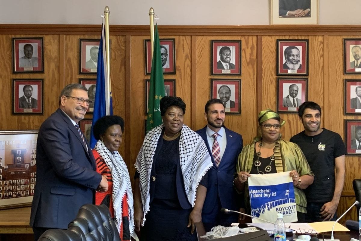 The deputy leader of the Namibian Parliament together with members of the SWAPO Women's Council meeting in Windhoek with members of the Palestinian Embassy, BDS movement and Israeli Apartheid Week team [BDS SOUTH AFRICA]