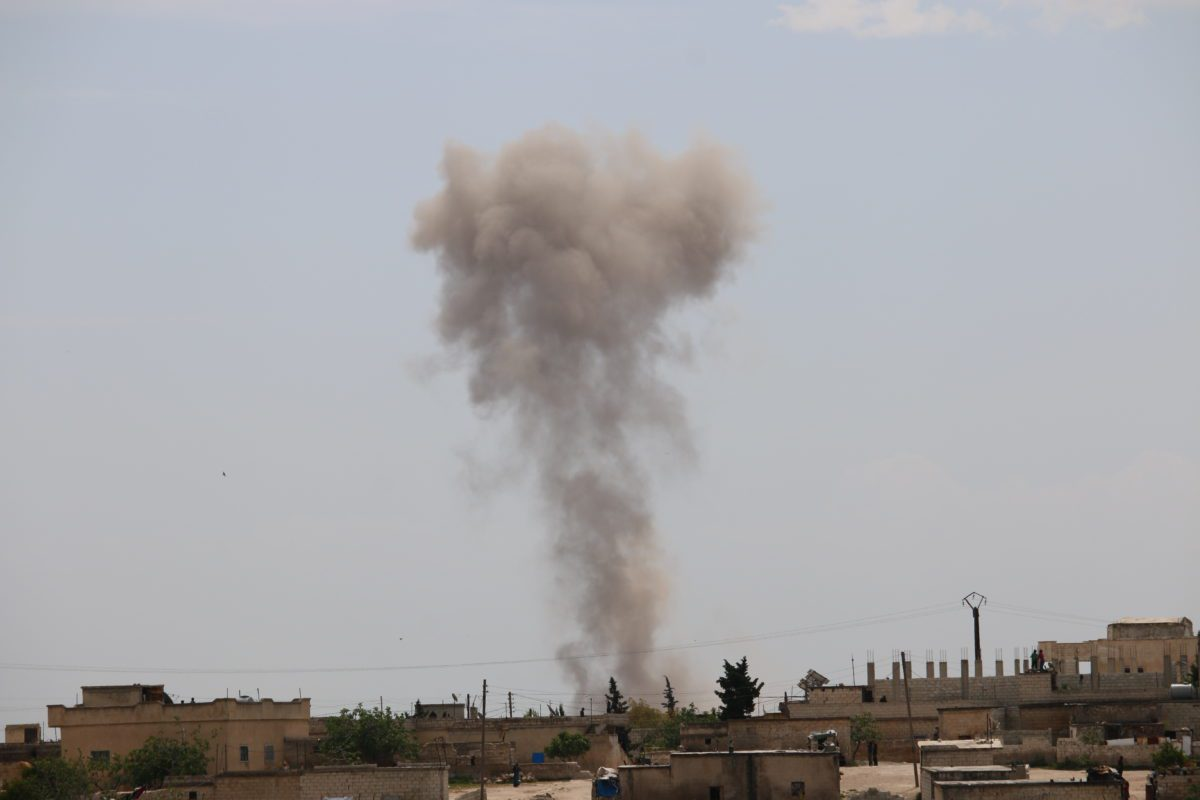 Smoke rises from Kefer- Secene village after Assad regime attacks on residential areas in Syria's de-escalation zones, on 3 May 2019 in Idlib, Syria. [Muhammed Ali - Anadolu Agency]