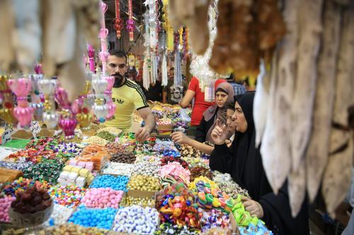 Iraqi Muslims shop at the Shorjah market ahead of Muslims' Holy Month of Ramadan in Baghdad, Iraq on 4 May 2019 [Haydar Karaalp/Anadolu Agency]