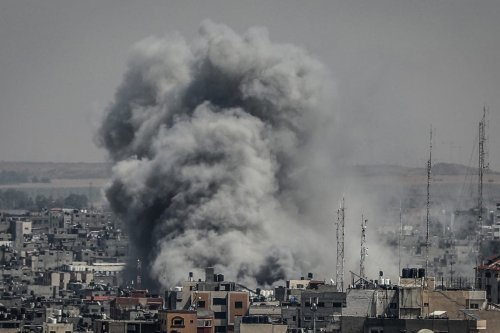 Smoke rises after Israeli warplanes carried out airstrikes in Gaza City, Gaza on 5 May 2019. [Ali Jadallah - Anadolu Agency]