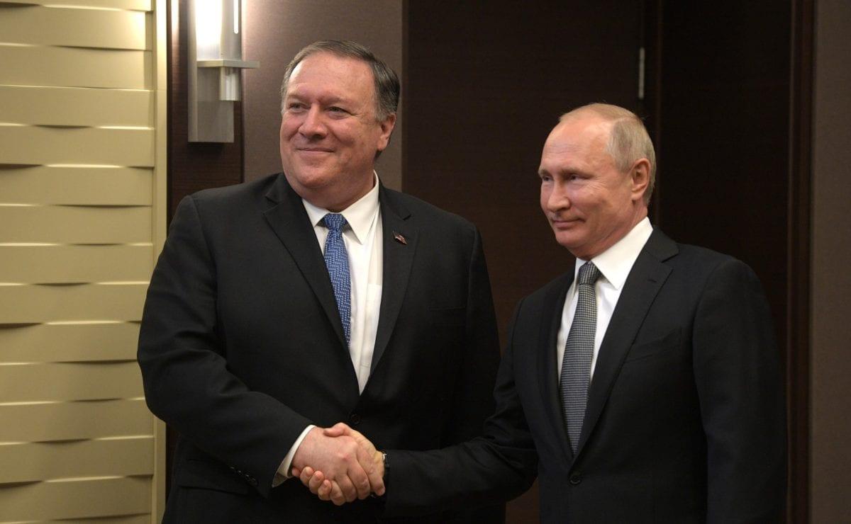 Russian President Vladimir Putin (R) meets U.S. Secretary of State Mike Pompeo (L) in Sochi, Russia on 14 May 2019. [KREMLIN PRESS OFFICE / HANDOUT - Anadolu Agency]