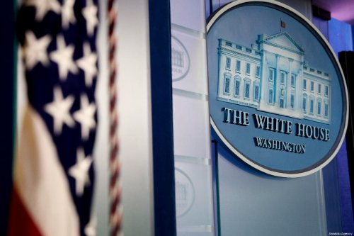 White House sign and logo at the Press Room in White House is seen in Washington D.C., United States on 15 May 2019 [Yasin Öztürk/Anadolu Agency]