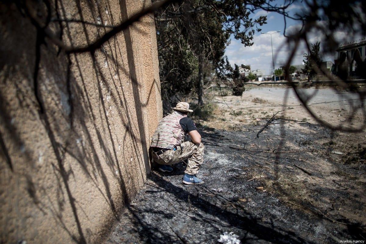 Libyan National Accord Government troops clash with military commander Khalifa Haftar's troops in Tripoli, Libya on 15 May 2019 [Amru Salahuddien/Anadolu Agency]