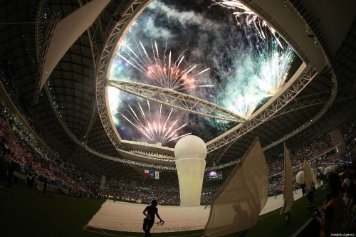 Inauguration of the Al Wakrah Stadium that will host the 2022 FIFA World Cup, held in Doha, Qatar on May 16, 2019. [Mohammed Dabbous/Anadolu Agency]
