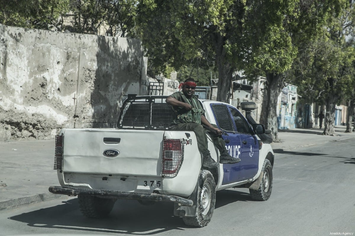 Somalian security forces are seen at the streets of Mogadishu, Somalia on May 18, 2019. People in Mogadishu have been struggling with the harsh conditions caused by the Al-Qaeda-affiliated terrorist group al-Shabaab's attacks. [Cem Genco/Anadolu Agency]