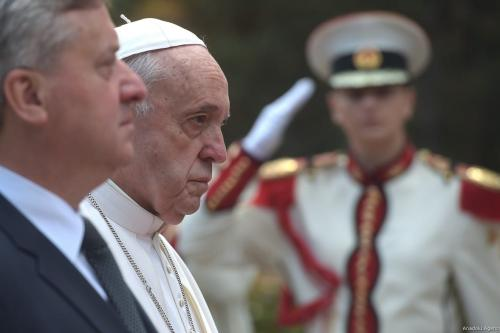 Pope Francis (2nd L) and President of North Macedonia Gjorge Ivanov (L) view the honour guards during the welcoming ceremony at the Presidential Palace in Skopje, North Macedonia on May 07, 2019 [Nake Batev / Anadolu Agency]