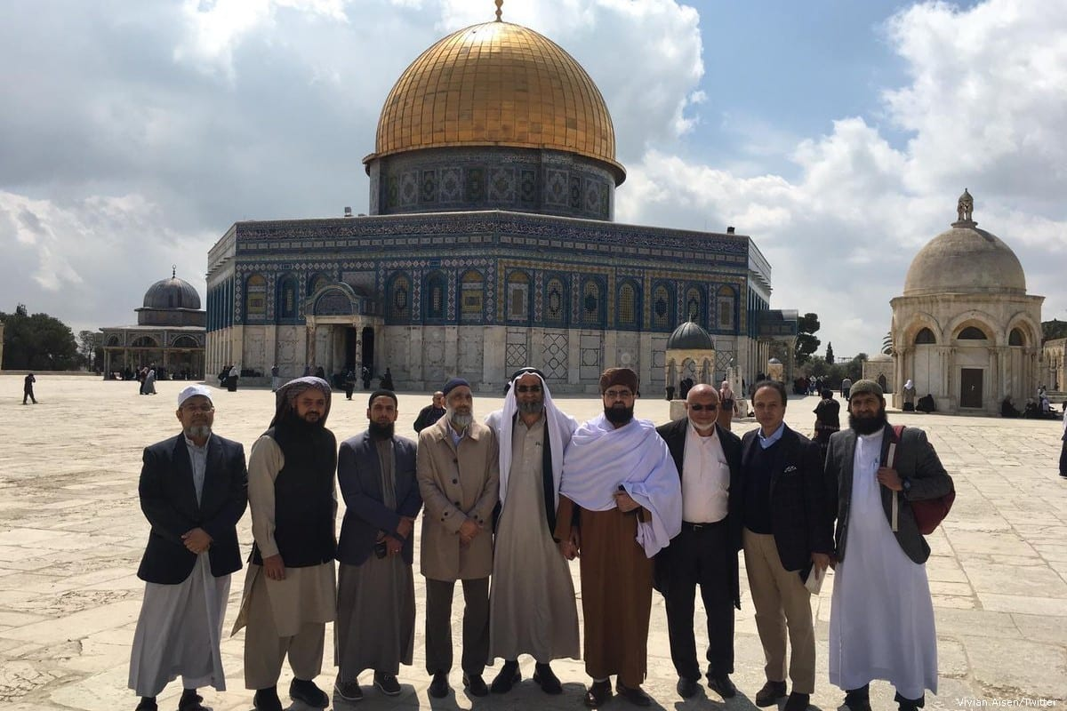 British imams stand outside the Al-Aqsa Mosque during a tour of Jerusalem organised by the Israeli embassy in the UK on 22 April 2019 [Vivian Aisen/Twitter]