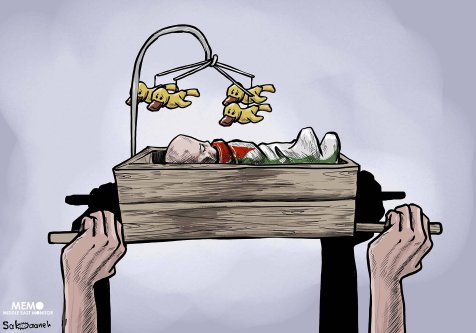 Pregnant mother and 14-month-old daughter were killed by an Israeli air strike on Gaza - Cartoon [Sabaaneh/MiddleEastMonitor]