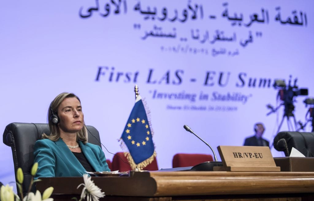 European Union Foreign Policy Chief Federica Mogherini attends the first joint European Union and Arab League summit in the Egyptian Red Sea resort of Sharm el-Sheikh, on 25 February, 2019 [KHALED DESOUKI/AFP/Getty Images]