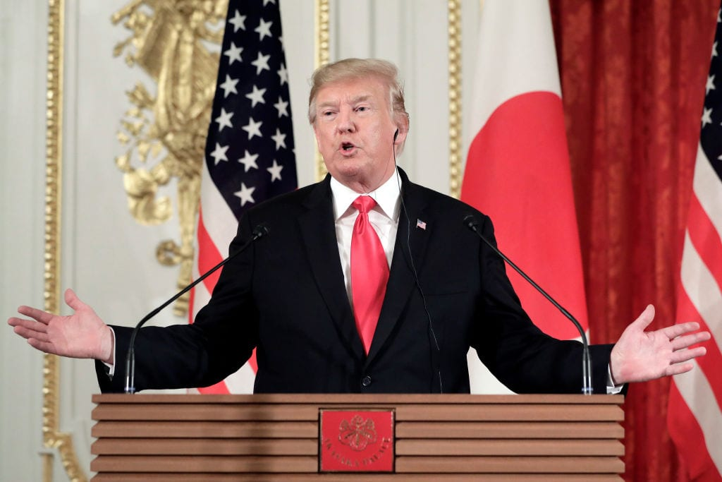 President Donald Trump, gestures as he speaks during a news conference with Shinzo Abe, Japan's prime minister, not pictured, at Akasaka Palace on 27 May 2019 in Tokyo, Japan. [Kiyoshi Ota - Pool/Getty Images]