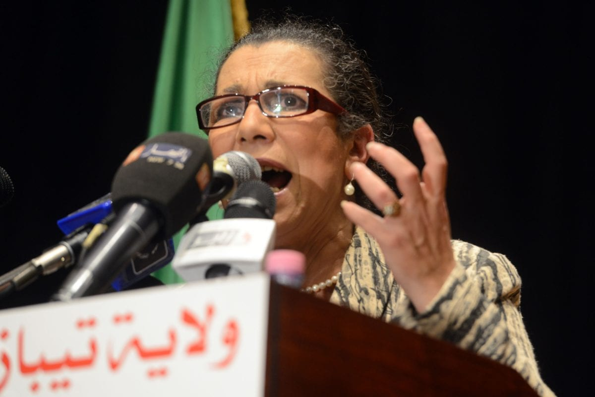 Head of the Algerian Workers' Party Louisa Hanoune gives a speech during a political meeting ahead of the upcoming presidential election, on April 8, 2014 in Kolea, a town in Tipaza Province, northern Algeria. [AFP PHOTO/FAROUK BATICHE / Getty]