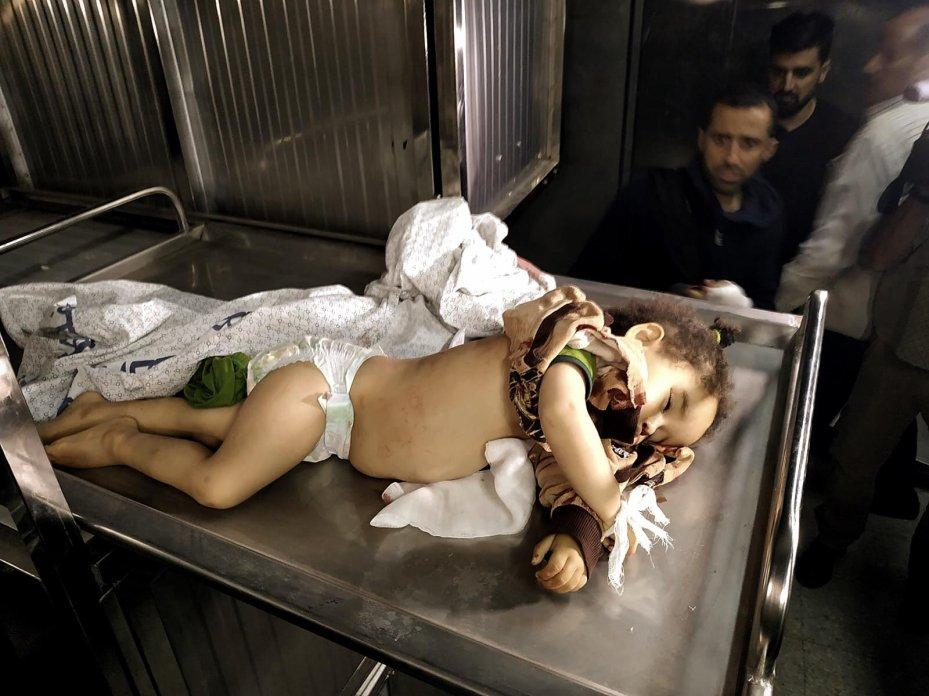 14-month-old Saba Mahmoud Abu Arar was killed by an Israeli air strike on Gaza, on 4 May 2019, [Loai el-Agha]