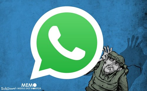 Israel hacking WhatsApp - Cartoon [Sabaaneh/MiddleEastMonitor]