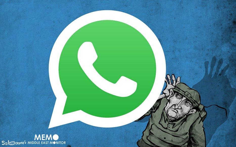 Israel hacking WhatsApp - Cartoon [Sabaaneh/MiddleEastMonitor]