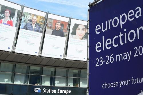 The banner of European Elections is seen prior to European elections outside the Station Europe in Brussels, Belgium on 23 May 2019. [Dursun Aydemir - Anadolu Agency]