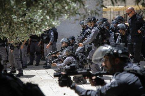 Israeli police intervene tear gas canisters to community as fanatic Jews, under Israeli police protection, raid Al-Aqsa Mosque Compound in Jerusalem on June 02, 2019. ( Faiz Abu Rmeleh - Anadolu Agency )