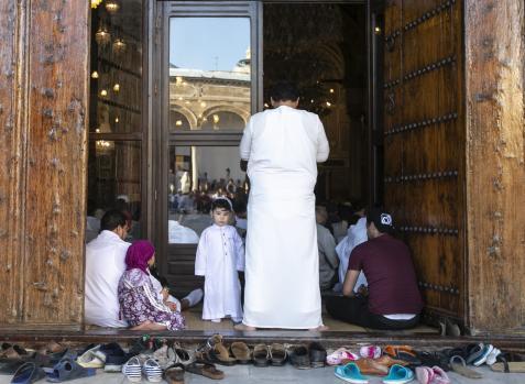 Muslims gather to perform Eid al-Fitr prayer at Al-Zaytuna Mosque in Tunis, Tunisia on 5 June, 2019 [Yassine Gaidi/Anadolu Agency]