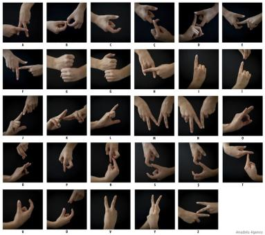 Close-up on hands showing the Turkish Sign Language symbols for alphabet letters on 22 May, 2019 in Ankara, Turkey [Aytaç Ünal/Anadolu Agency]